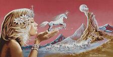 WALL JACQ. WOVEN TAPESTRY Unicorn Fairy EUROPEAN PINK DECOR - WHITE HORSE ANIMAL