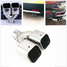 New Dual Exhaust Pipe Tail Muffler Tip Silver Chrome Stainless Steel Car Rear