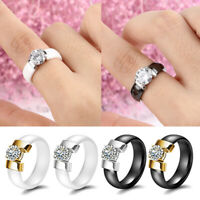 Rhinestone Ceramics Crystal Ring Finger Band Round Women Wedding Jewelry