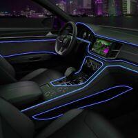 Blue Car LED EL Wire Light Strip Interior Atmosphere Glow Neon Lamp Decor Access