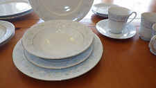 Fine China Dinnerware Plates Bowls Cups Saucers White Jade Tang Shan 17pcs Blue