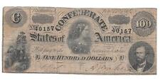 Confederate States T-65 $100 1864 Confederate Lucy Pickens Note - P282