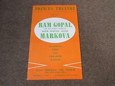 Ram GOPAL & his Indian Company with MARKOVA Original PRINCES Theatre Poster