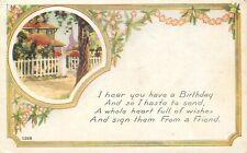 DB Postcard K056 Birthday Art Deco Style House Picket Fence Gate Flowers Friend