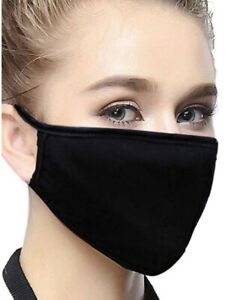 Virapro Re-Useable Washable Black Cotton Face Masks Pack of 3