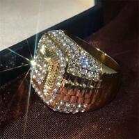 Men 18K Gold Hip Hop Full Rhinestone Band Ring White Sapphire Anniversary Gift