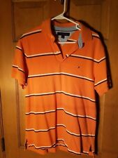 Tommy Hilfiger Mens Polo Orange with blue and white stripes Size Medium