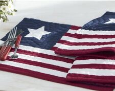 AMERICAN FLAG PLACEMAT : QUILTED RED WHITE BLUE PATRIOTIC TABLE LINEN RECTANGLE