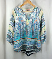 Olive Hill Womens Stitch Fix Paisley Hippie Peasant Shirt Blouse Top Sz S Small