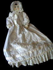 """Ooak Christening Doll Extremely Detailed 36"""" Eyelet Hand Made Artist Signed"""