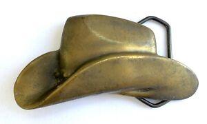Vintage Magicast Brass/Bronze Western Belt Buckle - Cowboy Hat - 1977
