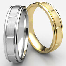 Carved Design Center Cut Satin Finished Ring 6mm Men's Women's Wedding Band Gold