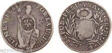 PERU - SPAIN , SILVER 8 REALES 1834 COUNTERMARK CROWNED Y.II ( EG.MP ) , RARE