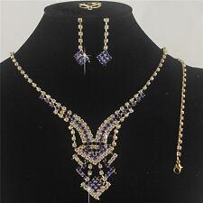 Dark Blue Austrian Crystal Rhinestone Necklace Earrings Bracelet Ring Set Square