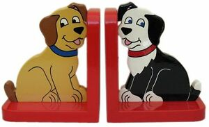 Dog On Red Wooden Bookends - Hand Made In Uk