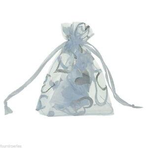 Pochettes Sachets Cadeaux Organza - 7x9 cm - Blanc/ Coeur Argent - Neuf
