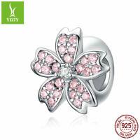925 Sterling Silver Charm Beads Sakura Pendant Fit Bracelet Necklace For Women