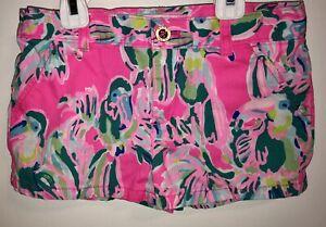 Lilly Pulitzer Girls Mini Callahan Shorts Dragonfruit Toucan Parrot Pink Size 8