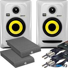 "KRK Rokit 4 G3 RP4 White Active Studio Monitors x 2 + ""FREE"" Isola Pads & Leads"