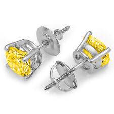 1.0 ct Round Brilliant Cut Solitaire Yellow CZ Stud Earrings Real 14k White Gold