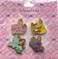 NEW DISNEY PARKS PRINCESSES WITH QUOTES 4 PIN SET