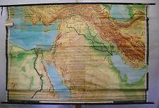 Schulwandkarte Wandkarte Irak Syrien Orient 217x147cm Karte Türkei Arabien ~1960