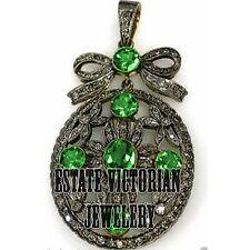 Studded Silver Victorian Pendant Jewelry 1.92Cts Pave Rose Cut Diamond Emerald