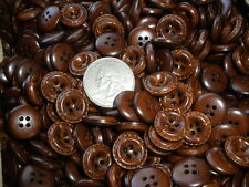 "Bulk Buttons Walnut Brown 5/8"" Faux Leather Stitched Look Blazer Suit 4H 24L USA"