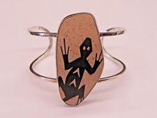 Rare Lapidaria Barrera 950 Silver Mata Ortiz Pottery Shard Lizard Cuff Bracelet