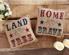 PATRIOTIC PILLOW SET : LAND HOME BRAVE PRIMITIVE BURLAP COUNTRY AMERICANA