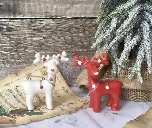 Set of 2 Nordic Ceramic Reindeer Christmas Tree Hanging Decorations Novelty Gift