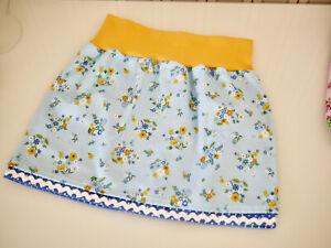 doppellagiger Mädchen Baumwoll Rock, Röckchen  Gr.110 Blumen & Tupfen blau-bunt