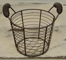 Wire Rustic Metal Mesh Egg Basket w/Handles