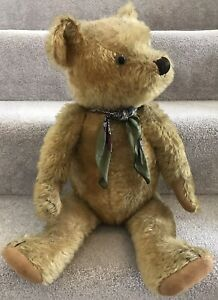 """Large Antique Chiltern or Similar Mohair Jointed Teddy Bear British 1930s 24"""""""
