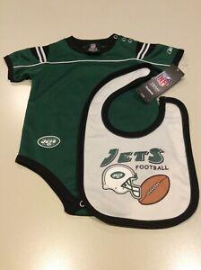INFANT BOYS NWT, SZ-18MONTHS-2PIECES-NFL-JETS-REEBOK ONE PIECE+BIB,