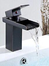 Aquafaucet Oil Rubbed Bronze Waterfall Spout Bathroom Sink Vessel Vanity faucets