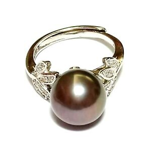 Gorgeous Natural Purple Black Brown Cultured 11mm Round Pearl Ring Size 6 - 7