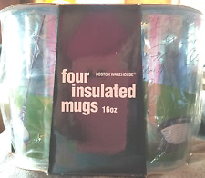 NEW in BOX~SET of 4 ACRYLIC INSULATED MUGS~16 oz.! GOLF MOTIF` 19th HOLE