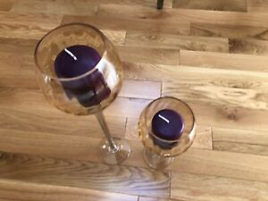 2 Tall Beautiful Elegant Goblet Style Glass Candle Holders & Burgundy Candles