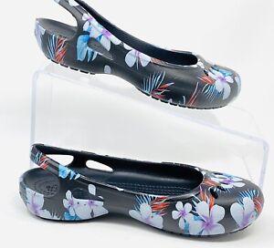Crocs Womens Ballet Flats Jayna Sling Back Floral Sandals Size 5 NEW