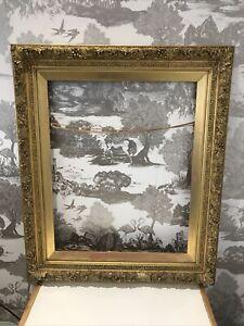 Huge Old Striking Gold Gilt & Ornate Gesso Detail Wooden Vintage Picture Frame