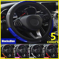 Car Steering Wheel Cover Protector Glove Universal Blue Pu Perforated Leather UK