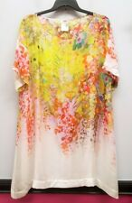 FUZZI Size 20 Yellow White Red Sheer Blouse Tunic Dress