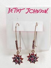Betsey Johnson Flower Drop Earrings Rose Goldtone Multicolor Crystals New! NWT