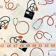 RPFWi87D Doctor Nurse Stethoscope Cardio Medicine Heart Cotton Quilt Fabric