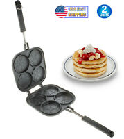 Perfect Bake Serve Double Sided Pancake Maker Pan 4 Decorative Design Eggs Crepe