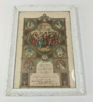 Antique 1921 Framed German Marriage Certificate : Gold Accent Jesus & Angels