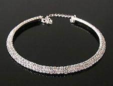 2 Row Silver Tone Crystal Diamante Choker Necklace