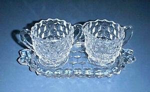 FOSTORIA American Glass Creamer Pitcher, Sugar Bowl, & Underplate or Butter Dish