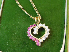 Vintage Sterling Silver Gold Plated Ruby Red CZ Heart Pendant Necklace 11f 34